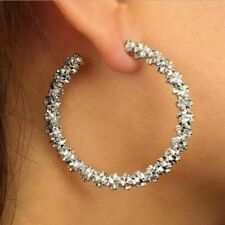 Vintage Round C Geometric  Dangle Drop Hoop Earrings Jewellery Accessories UK