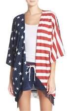 "New PJ SALVAGE ""Road Trip"" Wrap Kimono USA Stars & Stripes Fringe M"