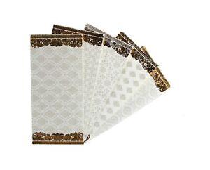 10x Indian Shagun Gift Envelopes Ivory White Gold Money Gift Cash Wallet Wedding