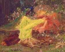 Fairy Tale All Seemed to Sleep by Arthur Wardle Art Girl Animals 8x10 Print 0739