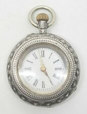 Vintage Antique Sterling Ladies Small Silver Detailed Open Face Pocket Watch