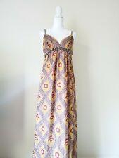 Charlotte Russe Gold Yellow Aztec Grecian Maxi Dress Women Size Large Rhinestone