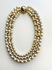 Vintage Faux Pearl And Rhinestone Collar Necklace