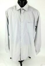 Alfani Mens Dress Shirt Sz 16-34/35 Long Sleeve Button Front Gray White Striped