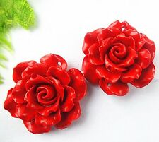 2pcs Beautiful cinnabar carved flower pendant bead 30x11mm BD282