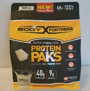 Body Fortress 100% Whey Protein Powder. 18 Packs 40 Grams Protein. New.