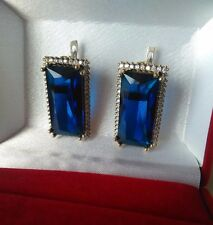 High Quality Handcraft Jewelry 925 Silver Ceylon Blue Sapphire Earrings