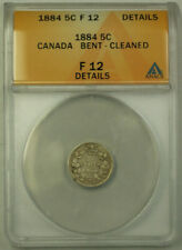 1884 Canada 5 Cents Silver Coin ANACS F-12 Details