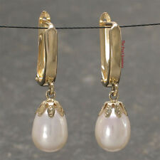 14k Yellow Solid Gold Euro Back AAA 8mm White Cultured Pearl Dangle Earrings TPJ