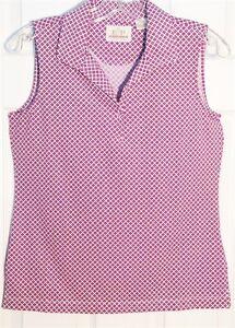 EP PRO Women's Sleeveless Golf Shirt.  Pink Print on White
