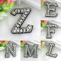 3D English Letters A-Z Patch Rainbow Rhinestone Alphabet Applique Iron On DIY