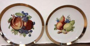 """Vintage JAPAN Hanging Decor PLAETS 7 1/2""""  fruit gold trim"""