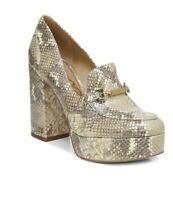 Sam Edelman Aurelie Platform Loafer (Women) Shoes Wheat Multi Snake-Print Size 8