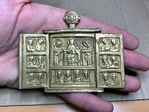 "Ancient folding icon ""Deesis"", cast, 18th century, bronze, 100% authentic."