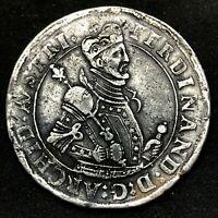 1564-1595 AUSTRIA TYROL SILVER THALER CROWN ARCHDUKE FERDINAND II- RARE !!