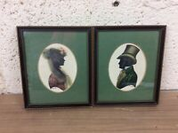 Pair Of Stunning Georgian Hand Embellished Silhouette Portraits Signed Turville