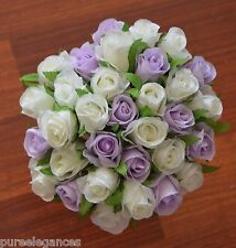 Silk Cream White Lavender Rose Roses Posy Wedding Bouquet Flowers 32 Heads