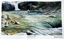 Fly fish painting fishing art print wall poster decor hanging waterfall nature