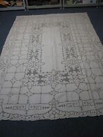 "ANTIQUE IVORY LINEN TABLECLOTH with CURWORK & EMBROIDERY 68"" X 100"" GORGEOUS!"