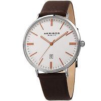 Men's Akribos XXIV AK935RG Genuine Leather Embossed Grid Dial Design Strap Watch