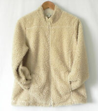 New J.Jill Fleece Jacket Full Zip Pockets Long Sleeve Beige Size M