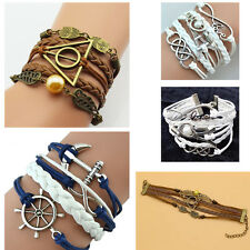 Leather Harry Potter Triangle Owl Rudder Anchor Tower Bangles Bracelet Wristband