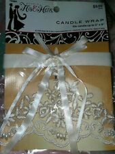 H&H Ivory Satin Ribbon Floral Lace W/ Pearl Beads Wedding Candle Wraps 743864