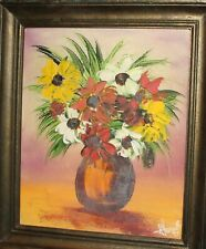 IMPRESSIONIST STILL LIFE WITH FLOWERS OIL PAINTING SIGNED