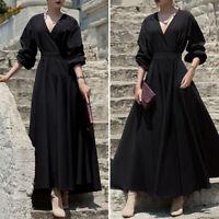 Plus Size Women Evening V-neck Long Sleeve Long Dress Holiday Flared Shirt Dress