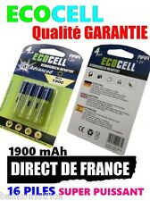 16 Piles AAA 1900mAh ECO Rechargeable 1.2 Mignon Ni-Mh  TRES PUISSANT  DE FRANCE