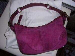 Authentic COACH NWT Purple Suede Leather Hobo Soho Purse Handbag w/ dustbag