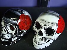 Lot of 2 Large Day of the Dead sugar skulls Dia de Los Muertos,, talavera,  art