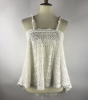 Free People FP Beach Womens Knit Top Size Large White Open Weave crochet Tunic