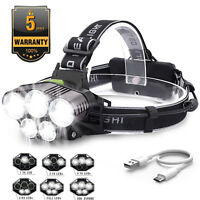 90000LM 5X T6 LED Headlamp Rechargeable Headlight Light Flashlight Torch Head QQ