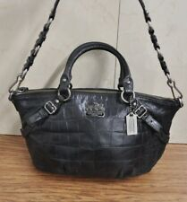 COACH 15924 Madison Embossed Leather Sophia Croc Satchel Handbag