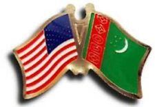 Américain USA Turkménistan Friendship Drapeau Vélo Moto Bonnet Épinglette