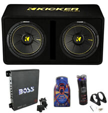 """Kicker 44DCWC122 12"""" 1200W Car Subwoofers Sub Enclosure + Amp + Capacitor + Wire"""