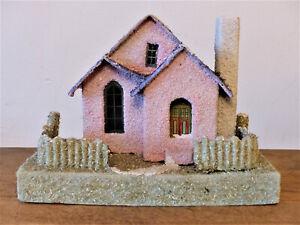 Vintage 1940s JAPAN Large MICA Christmas PINK Glitter CARDBOARD Village HOUSE #2
