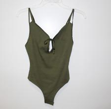 Victoria Secret Ribbed Cutout Bodysuit Green Size Medium