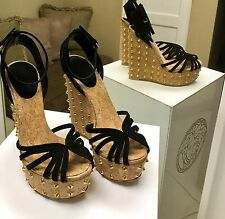 GUCCI BLACK LEATHER BLACK SUEDE STUDDED WEDGE PLATFORM SANDALS