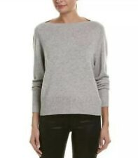 NWT VINCE Boatneck Wool & Cashmere Sweater Heather Grey Size L $295