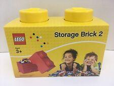 New LEGO Storage Brick 2 Knobs Yellow