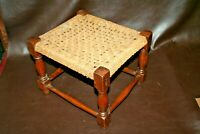 "Antique English 14"" Oak Frame Stool w/ Woven Reed Seat c. 1900 - Seat Needs Work"