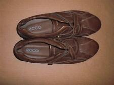 ECCO WOMENS BROWN GENUINE LEATHER SIZE 9 SLIP-ON LOAFERS WITH Z-STRAP DESIGN