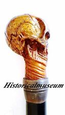 Handmade Human Skull Molded Gothic Walking Stick Cane Staff