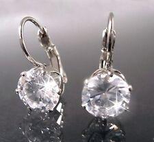 Earrings Silver Zirconia 8mm Clear Jewellery Women's Wedding Bride o1962
