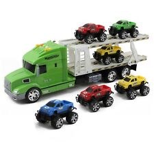 """Toy Semi Truck And Trailer 6 Car Carrier 20"""" Push N Go With Lights Sounds TH-53"""