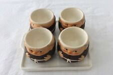 A RARE SET OF FOUR GOEBEL EGG CUPS WITH FITTED TRAY 5CMS HIGH 4 MONKS IN HABITS