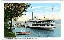 Lake George NY - STEAMER SAGAMORE AT CLEVERDALE LANDING - Postcard Adirondacks