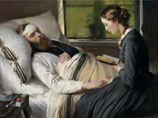 Oil painting A wounded Danish soldier with young girl by bed free shipping cost
